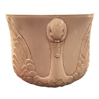 Italian Ceramic Swan Cachepot Planter For Sale