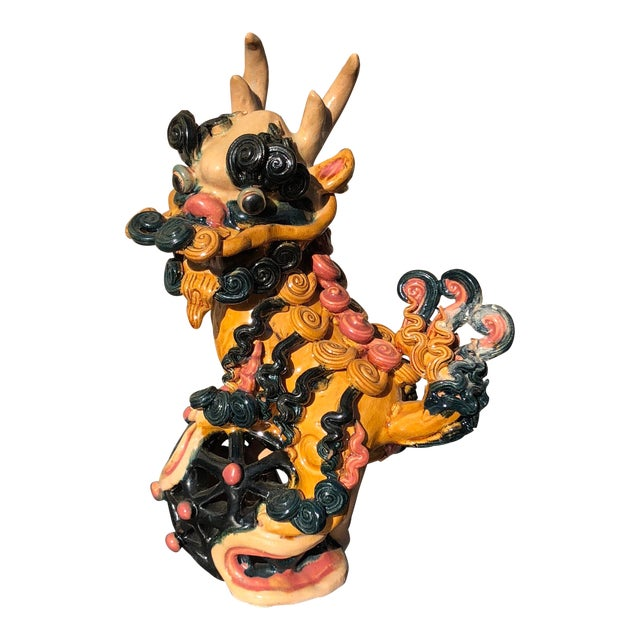 Multicolored Vibrant Vintage Clay Ceramic Chinoiserie Foo Dog Lion Dragon For Sale
