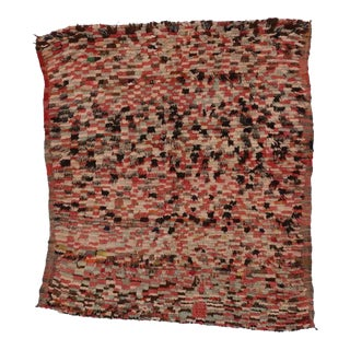Vintage Boujad Moroccan Rug with Tribal Design and Modern Style, Square Rug