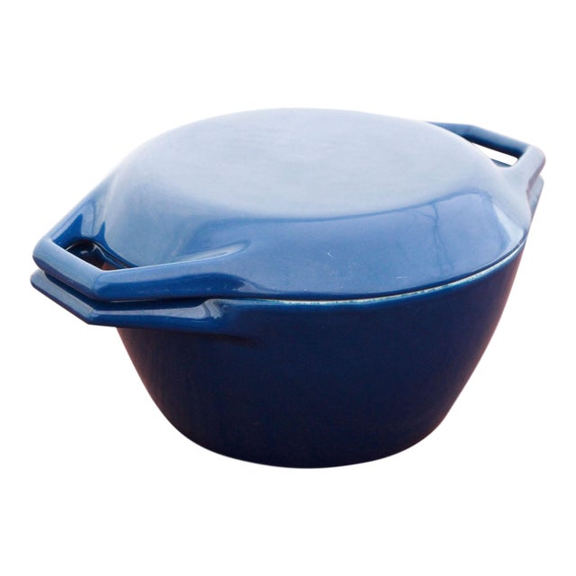 Vintage Blue Michael Lax for Copco Danish Modern Cast Iron Dutch Oven For Sale