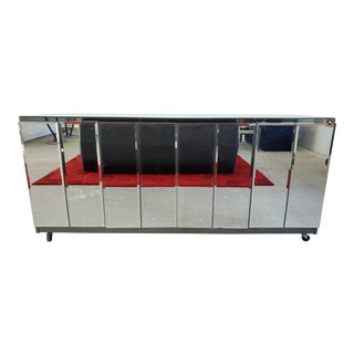 Vintage Mid-Century Modern Mirrored Credenza For Sale