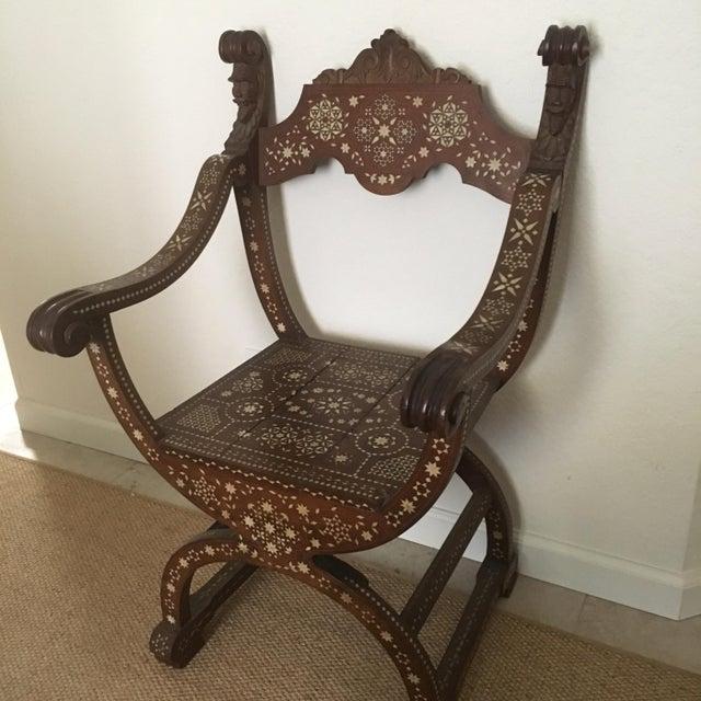 Moroccan Inlaid Savonarola Chair - Image 11 of 12