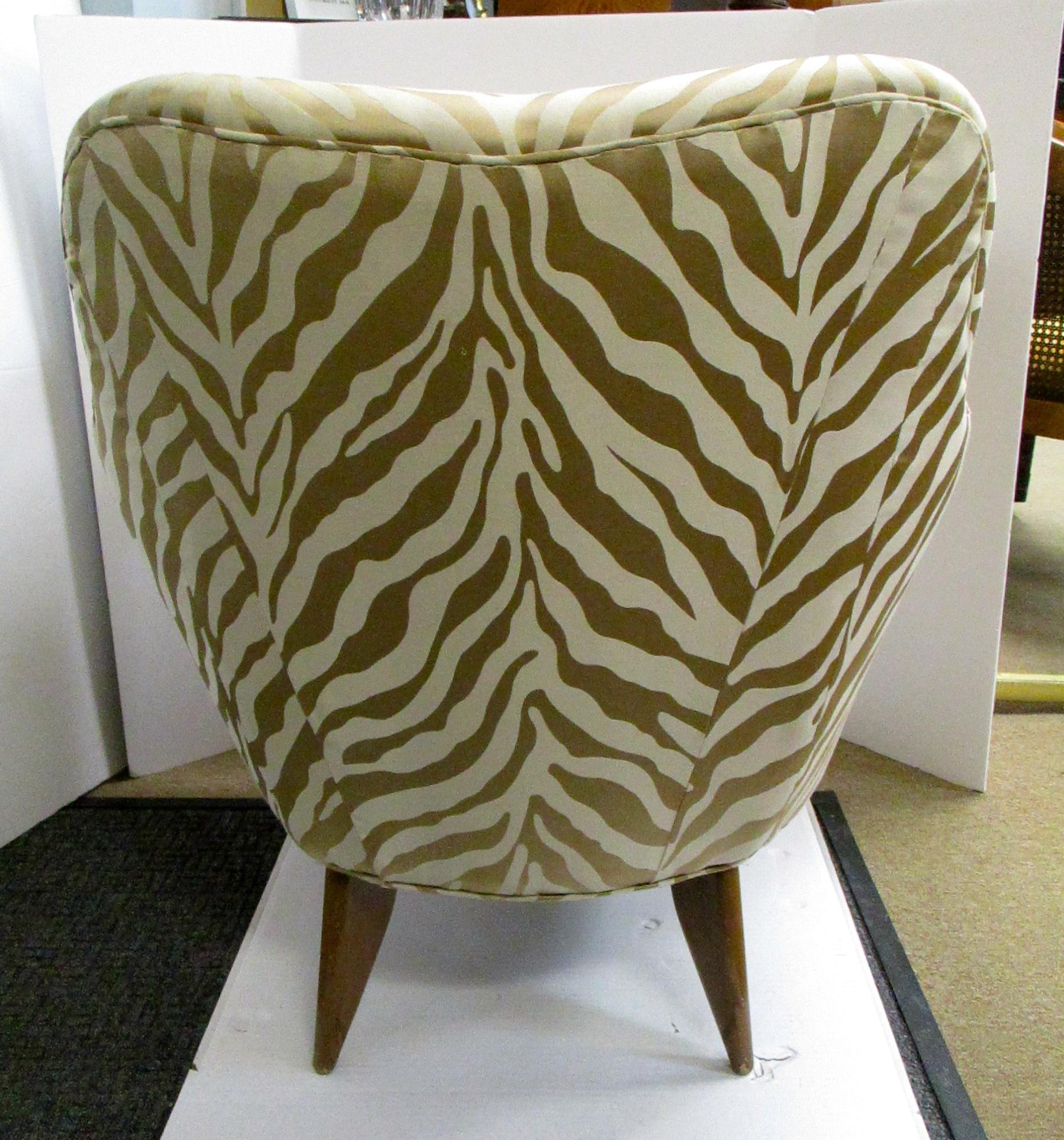 Beau Mid Century Upholstered Zebra Print Arm Chair   Image 4 Of 5