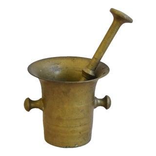 Circa 1940s Solid Brass Mortar & Pestle For Sale