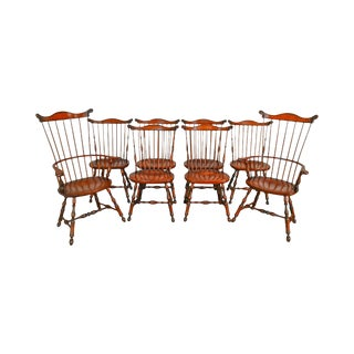 John K. Spicer & Son Custom Crafted Set of 8 Comb Back Windsor Dining Chairs For Sale