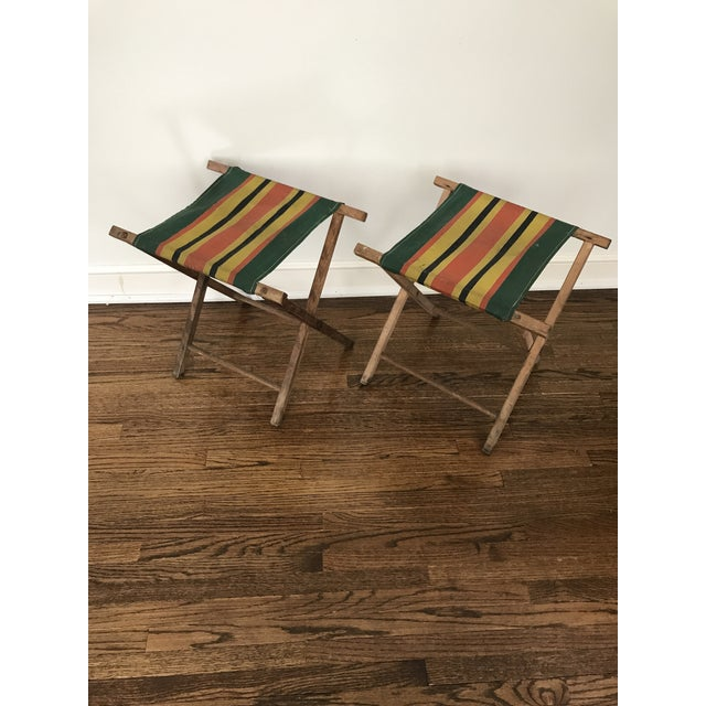 Lodge Vintage Striped Folding Canvas Camp Stools - A Pair For Sale - Image 3 of 8