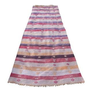 Vintage Striped Turkish Kilim Runner Rug 3′3″ × 9′8″ For Sale