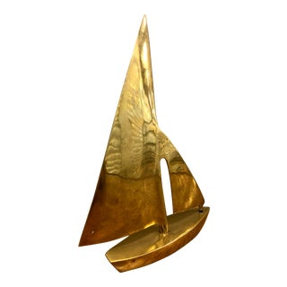 Mid-Century Nautical Brass Sailboat Figure For Sale