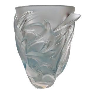 1980s Art Nouveau Lalique Frosted Glass Martinets Vase For Sale