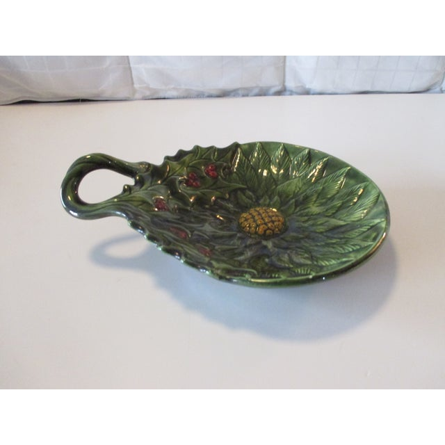 Boho Chic Vintage Decorative Holy Candy Green Dish For Sale - Image 3 of 5