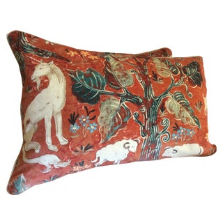 Melissa White Zoffany Arden Red Down Pillow - Pair For Sale