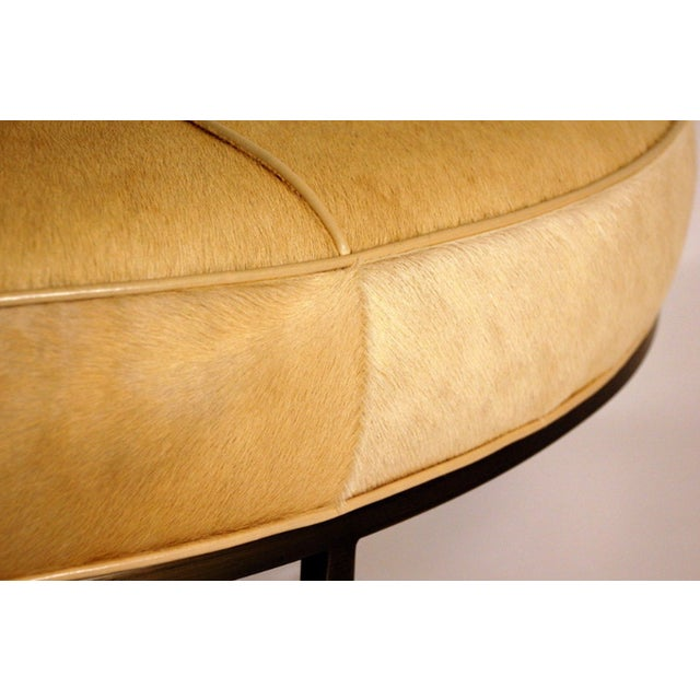 """Contemporary """"Tambour"""" Natural Hide and Brass Ottoman For Sale In Los Angeles - Image 6 of 10"""