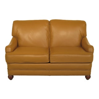 Quality Tan Leather 2 Seat Sofa Loveseat