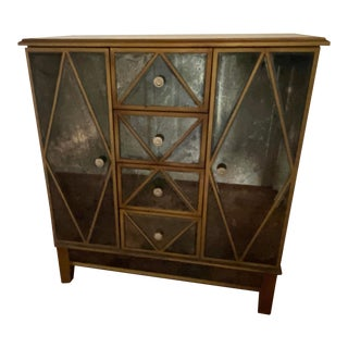 Hollywood Regency Mirrored Dry Bar For Sale