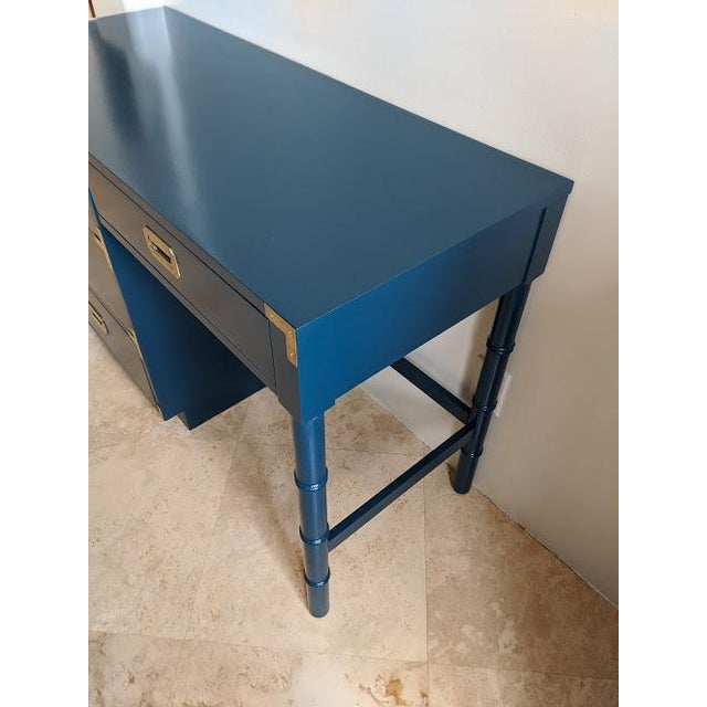 Campaign 1970s Campaign Dixie Blue Gloss Desk For Sale - Image 3 of 10