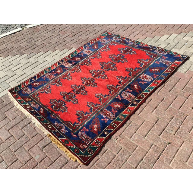 One of a kind hand made Anatolian Rug. This gorgeous hand knotted area rug was made in the 1970's by Anatolian tribes....