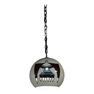 Ceramic Art Decorated Pendant Shade Light Fixture For Sale