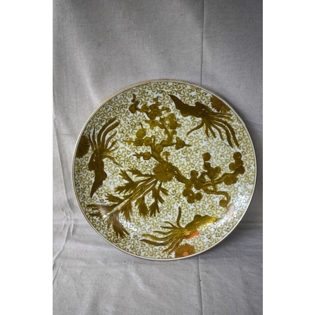 Asian Imari Hand Painted Gold Large Plate For Sale - Image 3 of 6