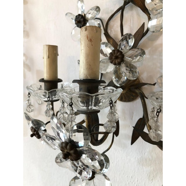 1920s Huge Clear Flower Maison Bagues Style Three-Light Sconces For Sale - Image 5 of 10