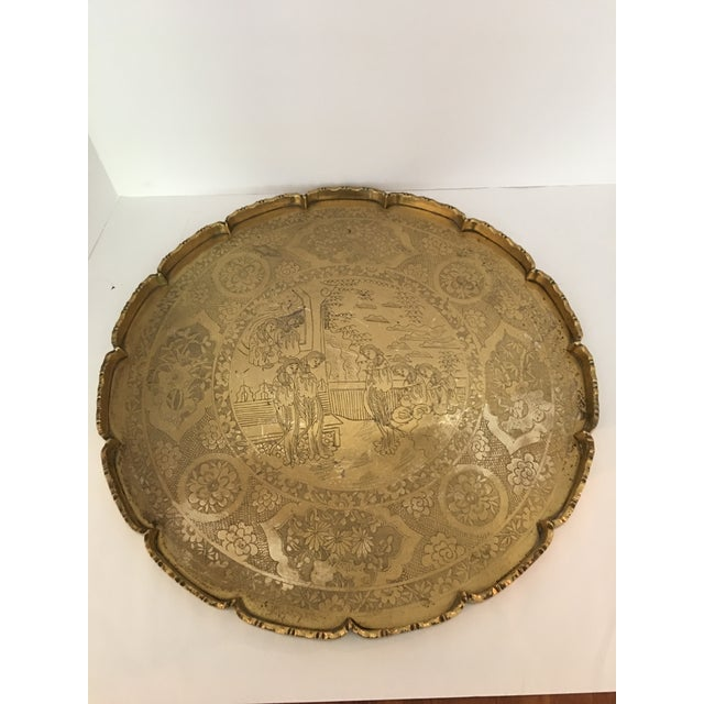 Asian Scalloped Chinese Brass Collapsible Tray Table For Sale - Image 3 of 11