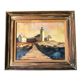 Original New England Modernist Lighthouse Painting Signed For Sale