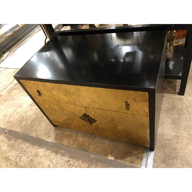 1970s 1970s Vintage Mid-Century Modern Gold Leaf and Ebonized Cabinet For Sale - Image 5 of 9