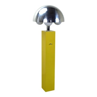 Vintage Mid-Century Modern Yellow Floor Lamp For Sale