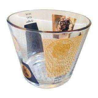 1960's Regency Bar Ware Black Gold Ice Bucket For Sale