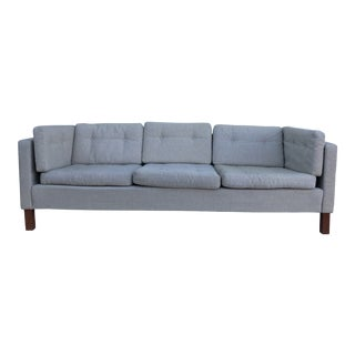 Danish Modern Khaki Colored Sofa With Teak Legs For Sale