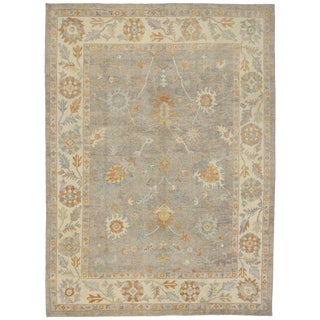 Turkish Oushak Area Rug With Neutral, Warm Colors - 9′8″ × 13′2″ For Sale