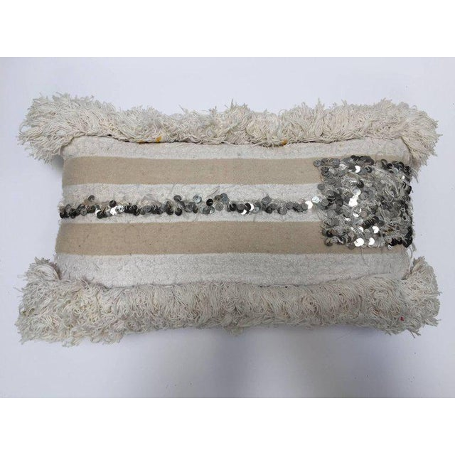 Moroccan Wedding Pillow With Silver Sequins and Long Fringes For Sale - Image 10 of 10