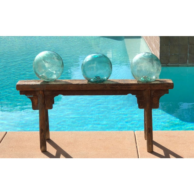 Vintage Aqua Glass Fishing Float For Sale - Image 5 of 6