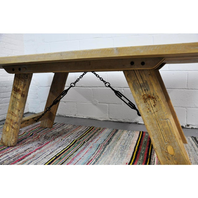Salvaged Industrial Reclaimed Pine Wood Rustic Dining Table With Metal Elements For Sale In New York - Image 6 of 13