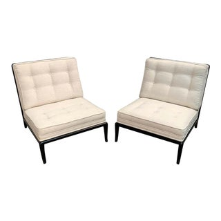 Ebonized Lounge Chairs in the Style of Robsjohn-Gibbings- A Pair For Sale