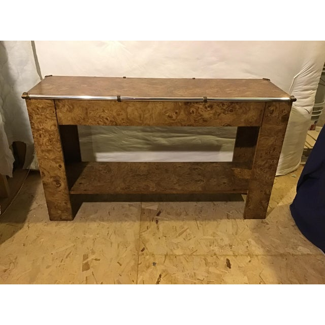1970s Hollywood Regency Faux Burl Wood Laminate Console For Sale - Image 9 of 9