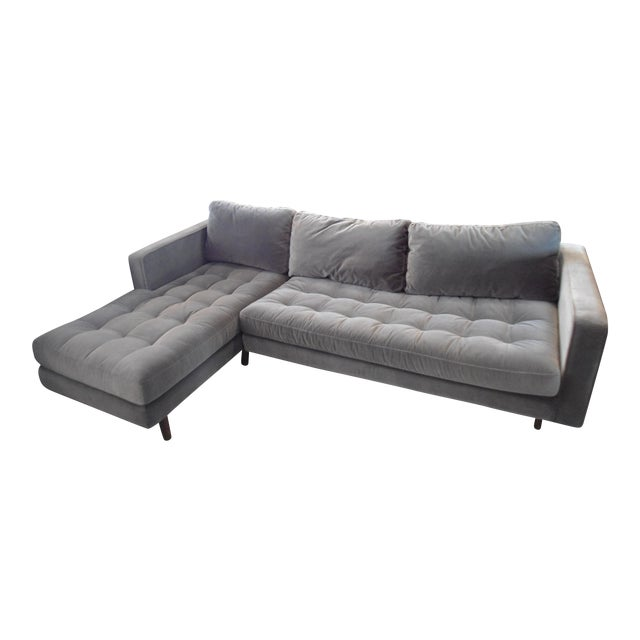 Shadow Gray Velvet Sectional, Left Chaise, Tufted Seating For Sale