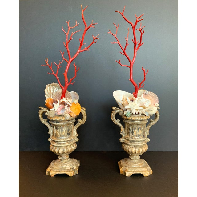 Baroque-Style Carved Silver Gilt Urns With Shell & Faux Coral Composition - a Pair For Sale - Image 12 of 12
