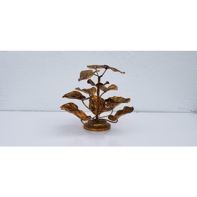 Italian 1960s Vintage Italian Gilded Plant Shaped Table Sculpture For Sale - Image 3 of 8