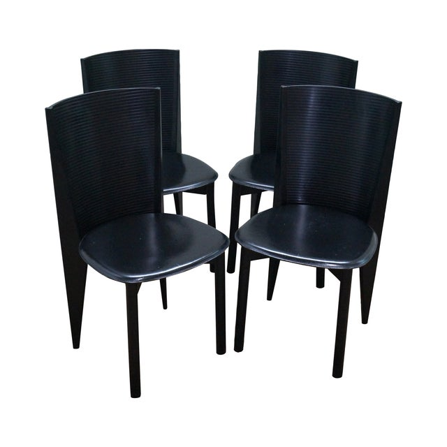 Calligaris Black Italian Dining Chairs - Set of 4 - Image 1 of 10