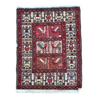 Vintage Silk and Cotton Turkish Soumak Rug With Roosters - 2′5″ × 3′2″ For Sale