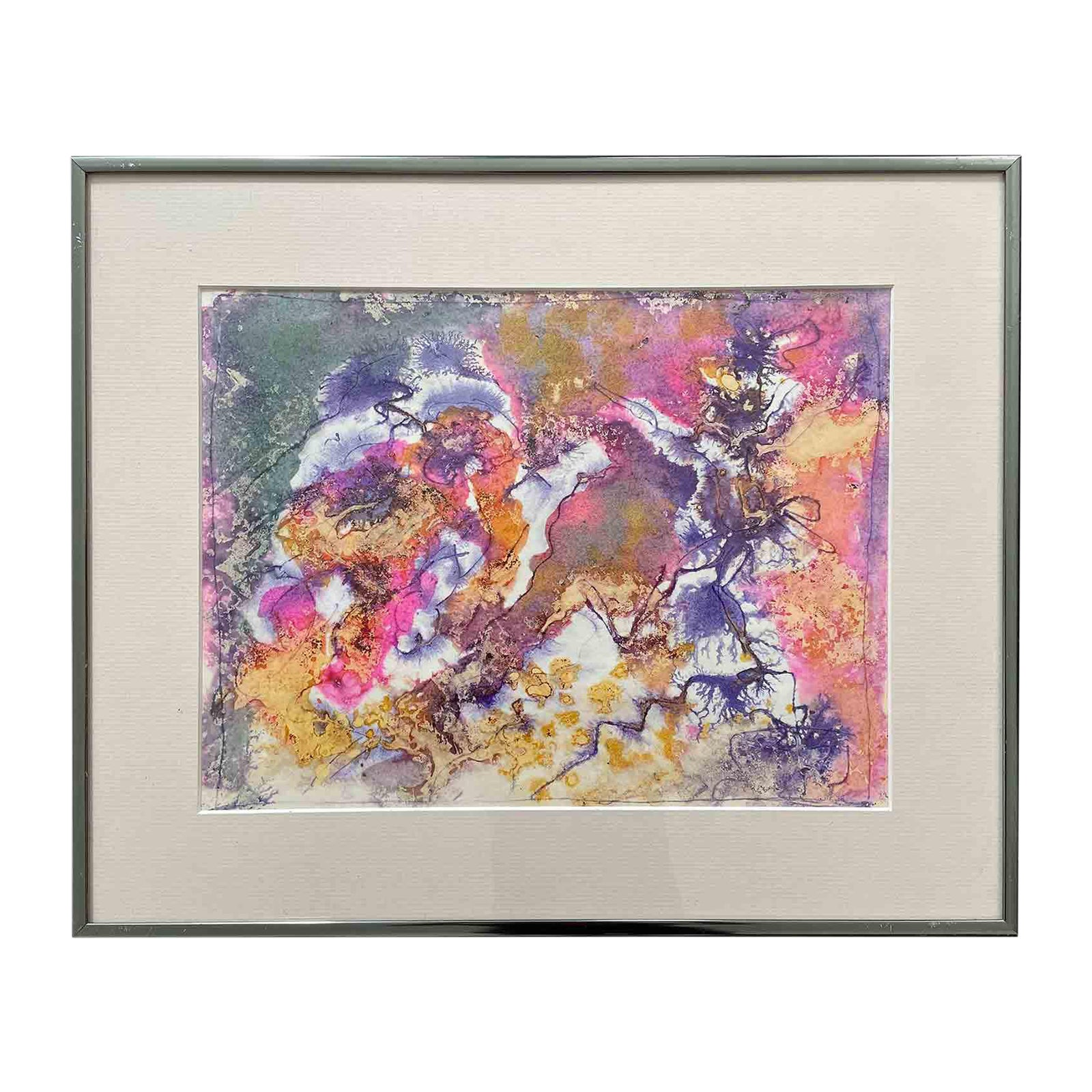 $159 - Late 20th Century Postmodern Abstract Watercolor Painting, Framed