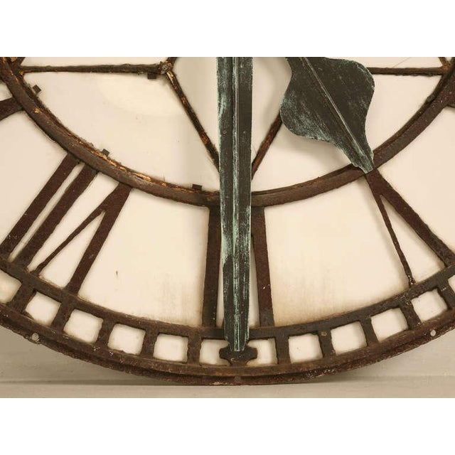 Cast Iron English Clock Face with Copper Hands, circa 1860 For Sale - Image 4 of 11