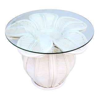 1970s Mid Century Modern Gabriella Crespi / Franco Albini Style Rattan Bell Flower Side Table With Glass Top For Sale