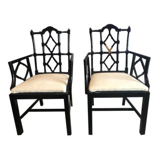 1960s Vintage Chinese Chippendale Armchairs- A Pair For Sale