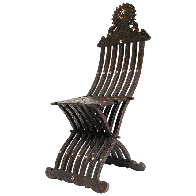 19th Century Middle Eastern Syrian Inlaid Folding Chair For Sale