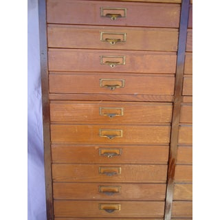20th Century Antique Oak 68 Drawer Wood File Cabinet Preview