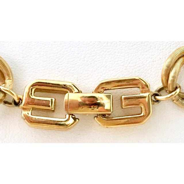 """Contemporary 20th Century Givenchy Gold """"Gg"""" Logo Double Chain Link Choker Necklace For Sale - Image 3 of 7"""