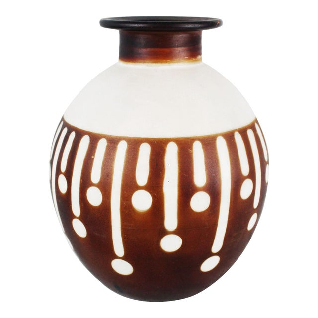 Brown Santodio Mid-Century Modern Pottery Vase For Sale - Image 8 of 8