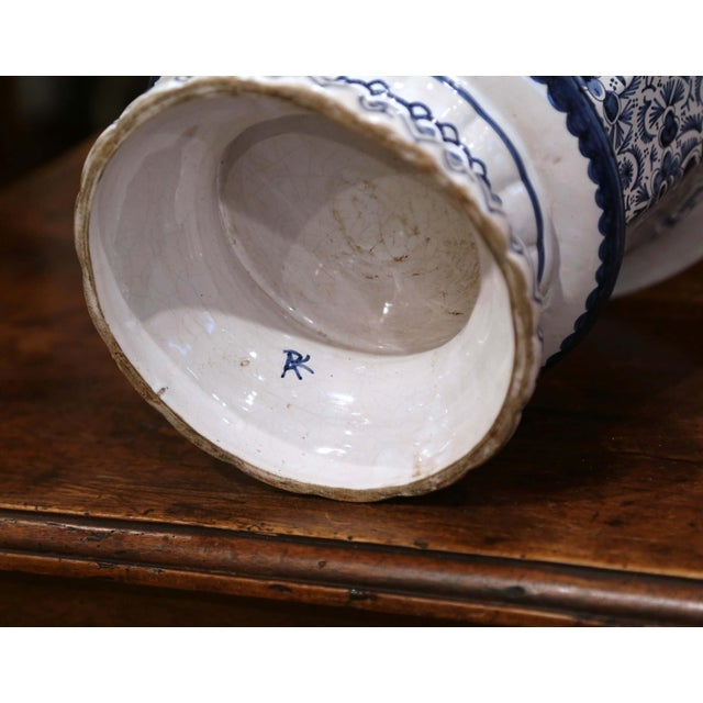 Late 19th Century 19th Century French Faience Painted Cache Pot For Sale - Image 5 of 7