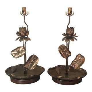 1960s Feldman Lighting Co. Brass Lotus Lamps in Style of Tommi Parzinger - a Pair For Sale